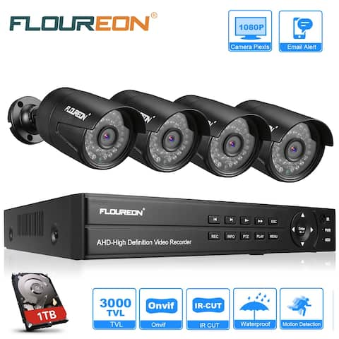 FLOUREON 1 X 8CH 1080P 1080N AHD DVR + 4 X Outdoor 3000TVL 1080P 2.0MP Camera + 1TB HDD Security Kit