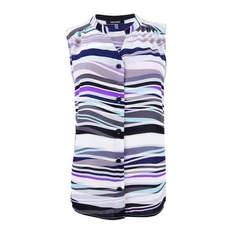 Nine West Women's Sleeveless Printed Blouse - Silver Multi
