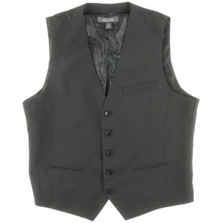 Kenneth Cole Reaction Mens Five Button Grid Pattern Suit Vest