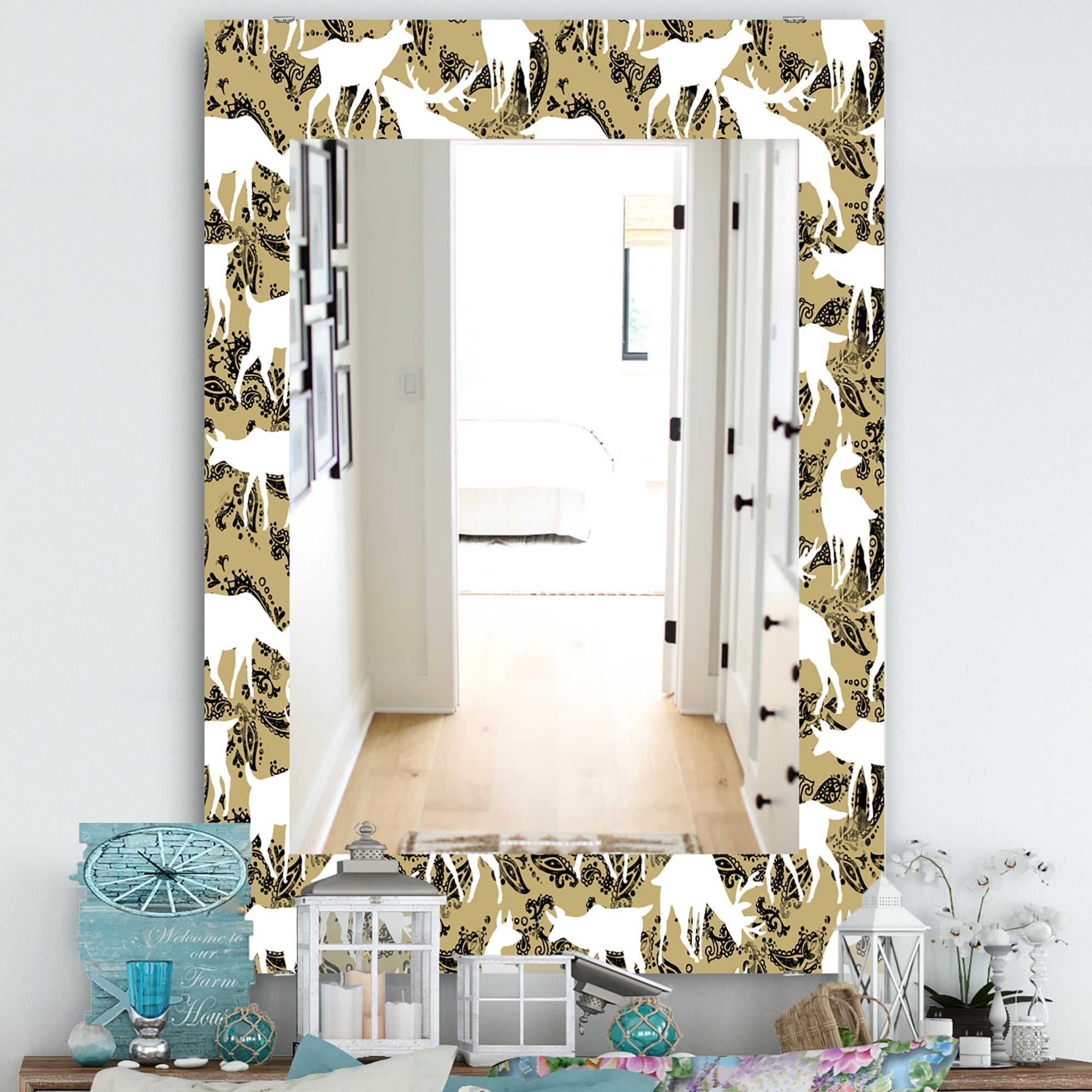 Designart Wild Animals Pattern Farmhouse Mirror Frameless Vanity Mirror On Sale Overstock 28022548