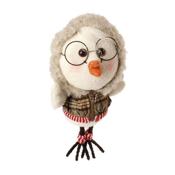 "9"" Large White Bird with Gray Plaid Faux Fur Trimmed Hoodie and Leg Warmers Christmas Ornament"
