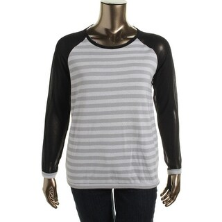 eric + lani Womens French Terry Sheer Sleeves Casual Top