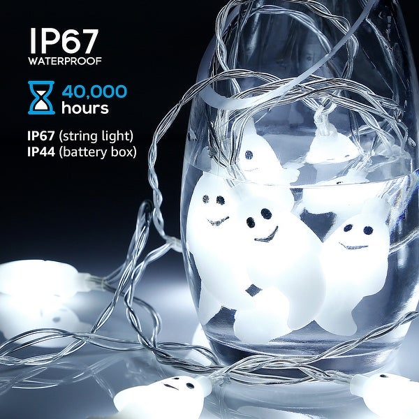 Halloween LED Copper Wire String Lights, Ghost Pendants, White, 8 Modes