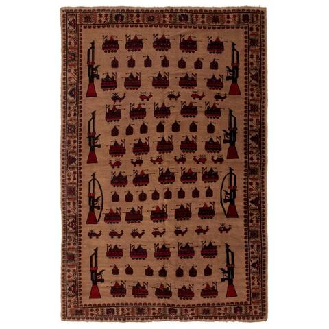 ECARPETGALLERY Hand-knotted Rare War Tan Wool Rug - 6'9 x 9'3