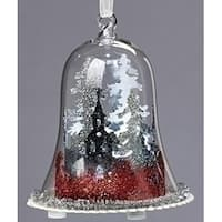 "4.5"" Red, Silver and White LED Lighted Scenic Glittered Winter Dome Christmas Ornament"