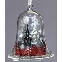 "4.5"" Red, Silver and White LED Lighted Scenic Glittered Winter Dome Christmas Ornament - CLEAR"