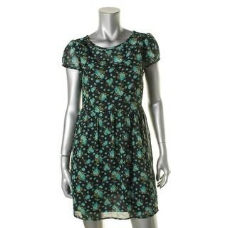Speechless Womens Juniors Casual Dress Short Sleeve Floral Print