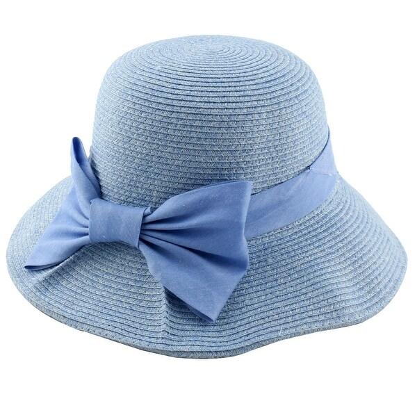 0f557030250 Ladies Women Straw Bowknot Decor Summer Floppy Wide Brim Sun Cap Beach Hat  Blue