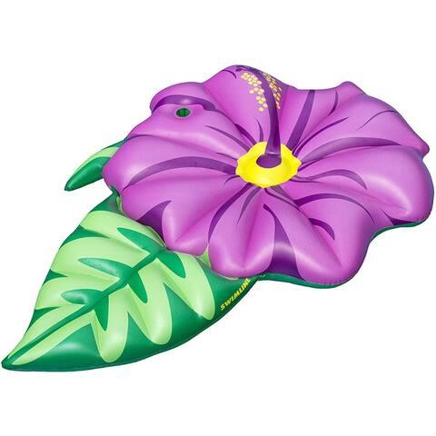 Swimline 90540 Inflatable Flower Pool Float, Green/Pink