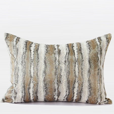 "G Home Collection Luxury Light Gold Mix Color Stripe Pattern Metallic Chenille Pillow 14""X20"""