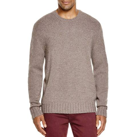 Bloomingdales Mens 2-Ply Cashmere Diamond Pattern Sweater Medium Toasted Almond