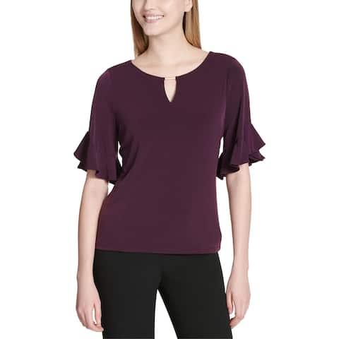 Calvin Klein Womens Blouse 3/4 Sleeve Ruffle