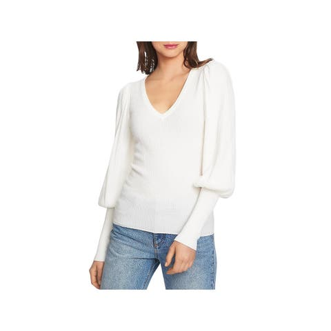 1.State Womens Pullover Sweater Textured Blouson Sleeves - L