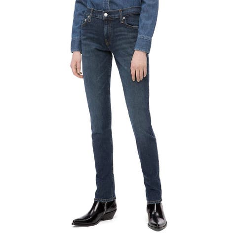 "Calvin Klein Women's Mid Rise Slim Leg Jeans Hamptons Blue Dark Size 27"" x 32"" - 27"" x 32"""