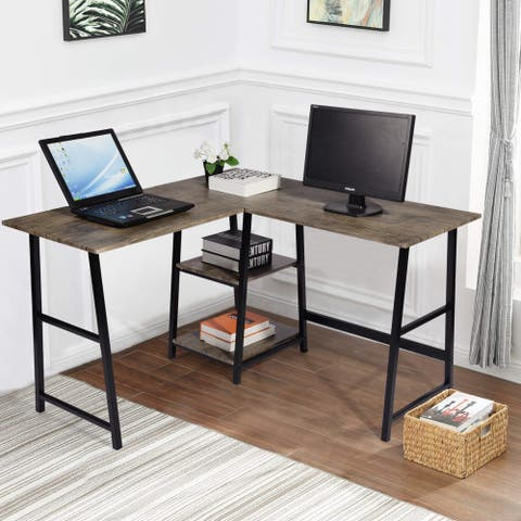 Carbon Loft L-shaped Corner Computer Desk Writing Table with Shelf