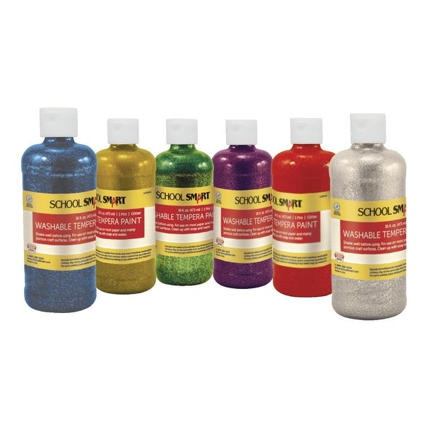 School Smart Washable Tempera Paint Set, 1 Pint, Assorted Glitter Colors, Set of 6