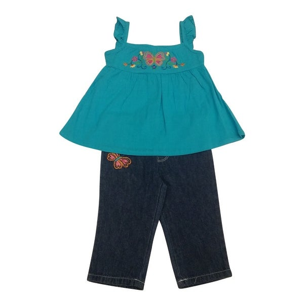 Baby Togs Baby Girls Turquoise Butterfly Floral 2 Pc Denim Pants Set 12-24M