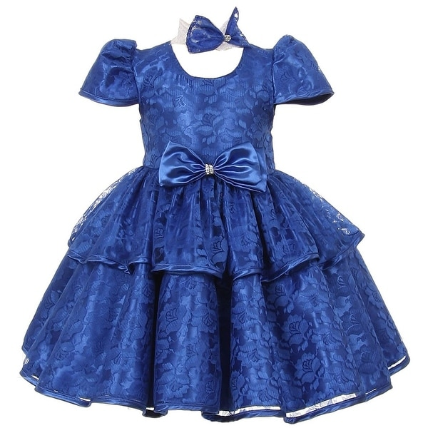Baby Girls Blue Floral Embroidered Lace Overlay Bow Flower Girl Dress 6-24M