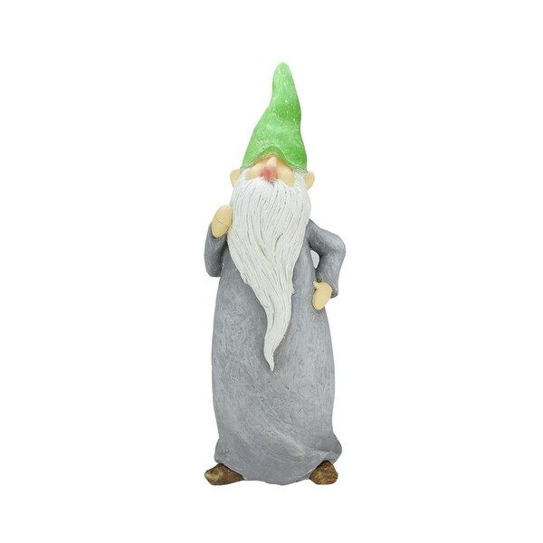 """29"""" Standing Gnome with Gray Robe and Green Cap Outdoor Patio Garden Statue"""