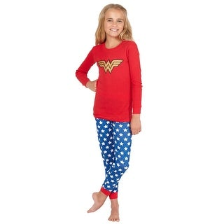 Intimo Girls' Wonder Woman Glitter Logo Pajama Set