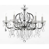 19th Rococo Iron & Crystal Chandelier Lighting H25 x W26