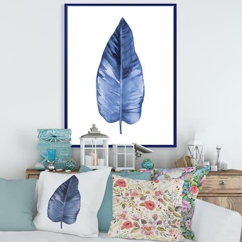 Designart 'Blue Leaf Watercolour on White' Traditional Framed Canvas Wall Art Print