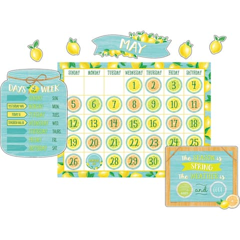 Lemon Zest Calendar Bulletin Board Set - One Size