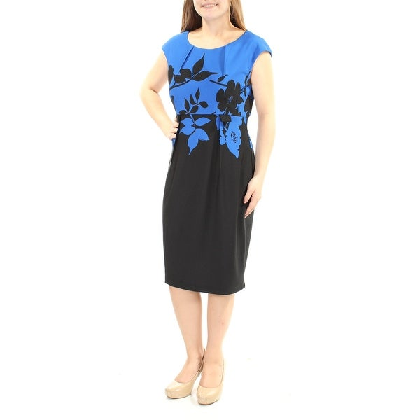 CONNECTED Womens Black Textured Floral Cap Sleeve Jewel Neck Knee Length Sheath Dress Size: 10