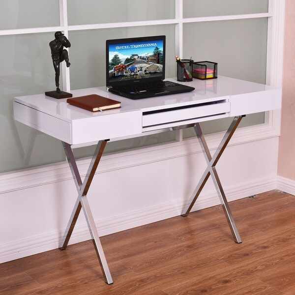 Costway Computer Desk PC Laptop Table Workstation Metal Frame Wood Top  w/Keyboard Tray