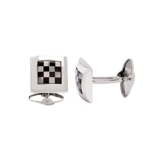Dolan Bullock Men's Onyx and Natural Mother-of-Pearl Checkerboard Cufflinks in Sterling Silver - Black