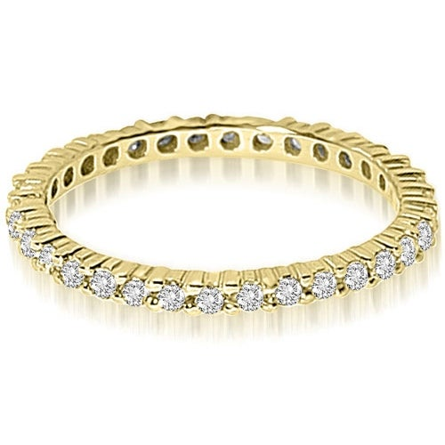 0.90 cttw. 14K Yellow Gold Round Shared Prong Diamond Eternity Ring,HI,SI1-2