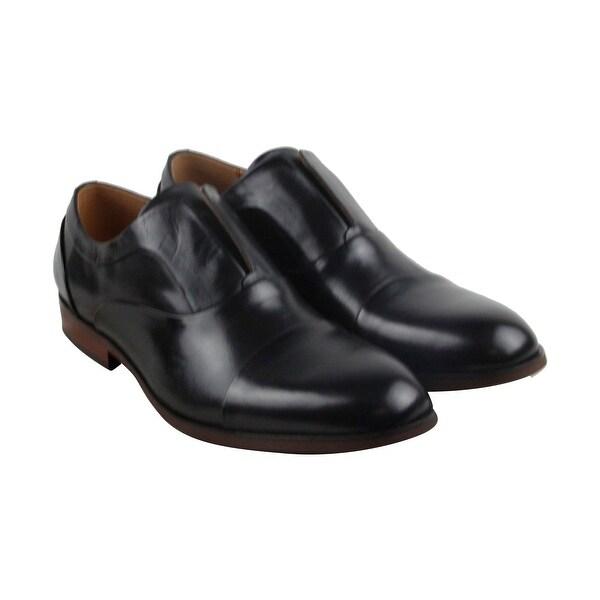 Steve Madden Scheme Mens Black Leather Casual Dress Slip On Loafers Shoes