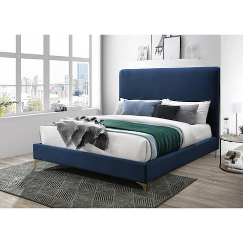 Leopold Velvet Upholstered Headboard Bedframe with Gold Feet (Dark Gray/ Royal Blue)