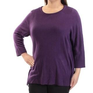 KAREN SCOTT $44 Womens New 1036 Purple Slitted Long Sleeve Sweater 1X Plus B+B