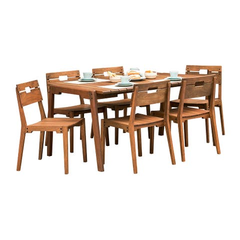 Marcelino 7-piece Eucalyptus Wood Outdoor Dining Set by Havenside Home