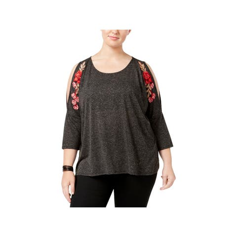 Eyeshadow Womens Plus Pullover Top Cold Shoulder Embroidered - 1X