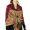 Pashmina Scarves Double Layer with Rainbow Popcorn Stripe - Thumbnail 0