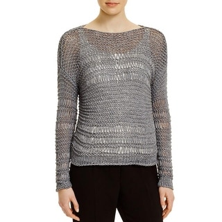 Eileen Fisher Womens Pullover Sweater Open Stitch Hand Knit