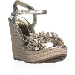 Carlos By Carlos Santana Belinda Platform Wedge Sandals, Platino