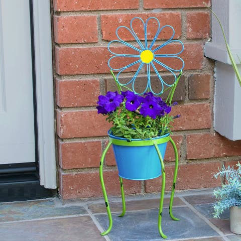 Alpine 24-Inch Blue Daisy Flower Planter with Stand