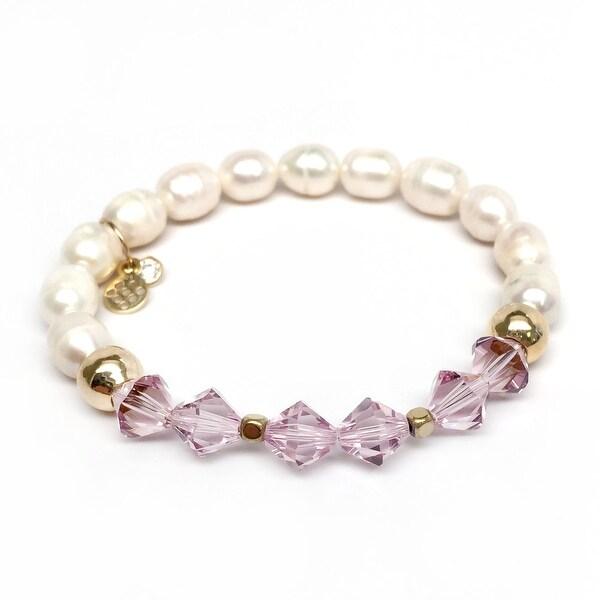 """Freshwater Pearl & Purple Crystal Chloe 7"""" Bracelet"""