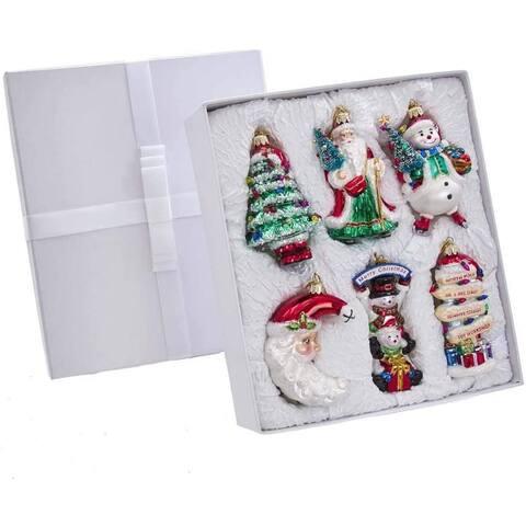 "Kurt Adler 4-5-Inch Noble Gems Glass Traditional Christmas 6-Piece Ornament Set - 4""-5"""