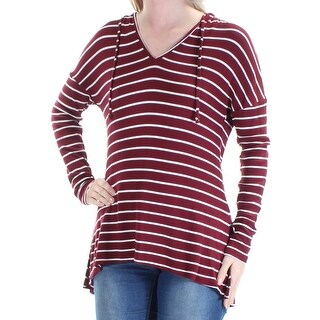 Womens Maroon Striped Long Sleeve V Neck Sweater Size S