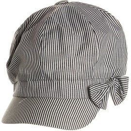Striped Bow Cabbie Hat
