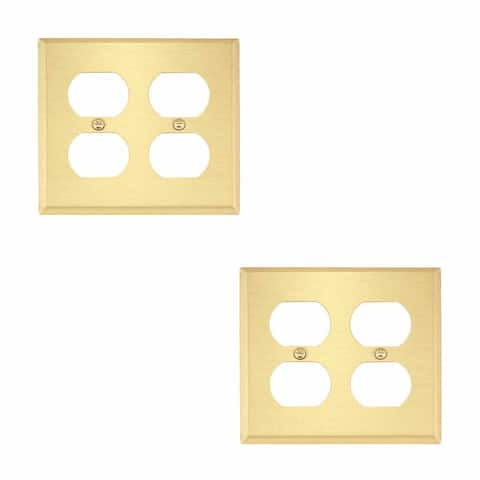 2 Switch Plate Brushed Brass Double Outlet