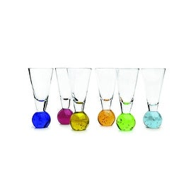 Palais Glassware Elegant Clear Shot Glass with Multicolored Ball Base - Set of 6