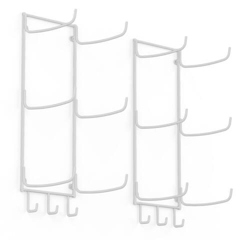 Wallniture Guru Wall Mount Yoga Mat Holder and Towel Rack with 3 Hooks (Set of 2)