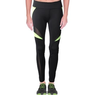 Central Park Womens Athletic Leggings Mesh Inset Colorblock Black L