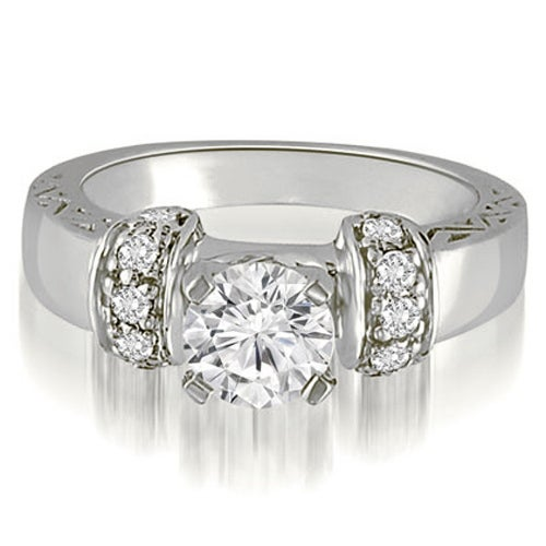 1.00 cttw. 14K White Gold Antique Round Cut Diamond Engagement Ring