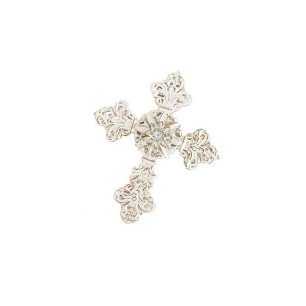 "5.25"" White and Gold Metal Filigree Fleur-de-Lis Religious Cross Christmas Ornament"